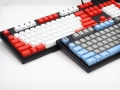 Max Keyboard Nighthawk Custom Mechanical Keyboard with white / red color keycap / Front Side Printed and equipped with Cherry MX Brown Key Switches