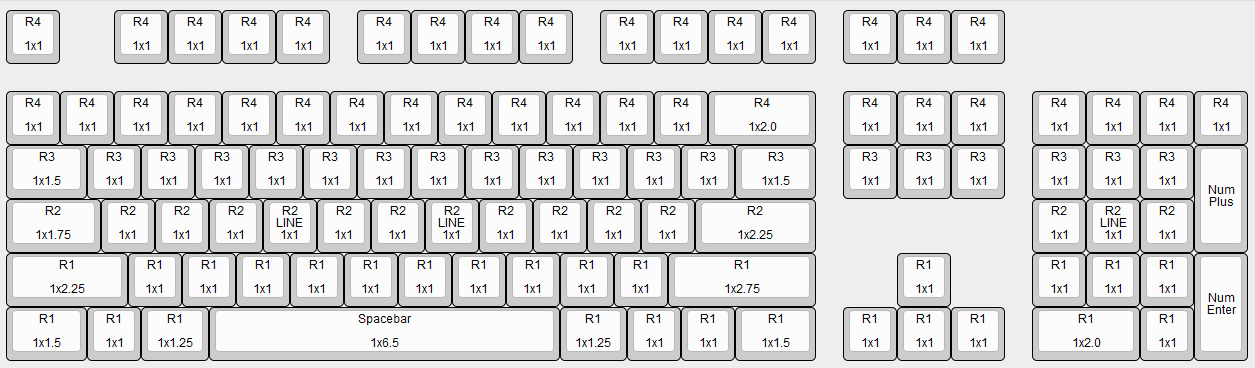 Corsair K70 Mechanical Keyboard Key Cap Size Chart